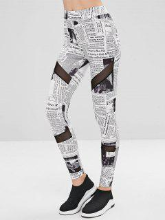 Mesh-Panel Zeitung Leggings - Weiß Xl