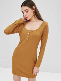 Scoop Neck Plain Mini Dress - Orange Gold S