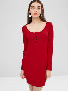 Mini Vestido Liso Con Cuello Redondo - Rojo Xl