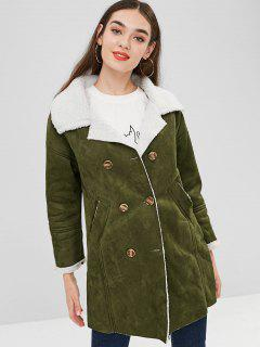 Pockets Double Breasted Sheepskin Coat - Army Green Xl