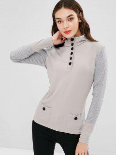 Half Button Long Sleeves Tee - Light Gray Xl