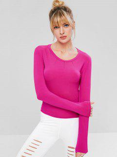 Ripped Long Sleeve Gym T-shirt - Hot Pink L