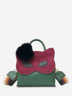 Faux Fur Ball Owl Pattern Handbag - Sea Green