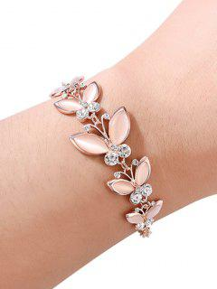 Butterflies Design Rhinestone Alloy Bracelet - Rose Gold