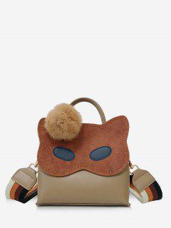 Faux Fur Ball Owl Pattern Handbag - Khaki
