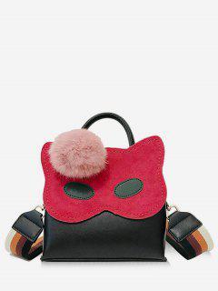 Faux Fur Ball Owl Pattern Handbag - Black