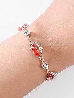 Faux Crystal Red Lips Design Bracelet - Rose Gold