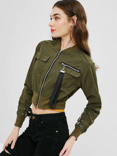 Zip Up Bomber Cropped Jacket - Army Green M