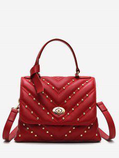 V Pattern Rivet Tote Bag - Red