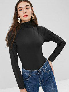 Turtleneck Snap-button At The Gusset Bodysuit - Black M