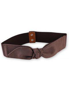 Bowknot Elastic Wide Waist Belt - Coffee