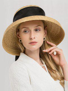 Ribbon Band Straw Sun Hat - Camel Brown