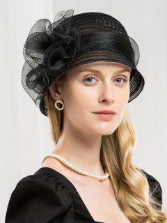 Chapeau Elégant Floral Rayé  - Noir