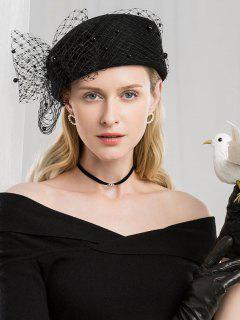 Vintage Mesh Bowknot Woolen Beret - Black