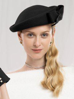 Bowknot Side Woolen Elegant Hat - Black