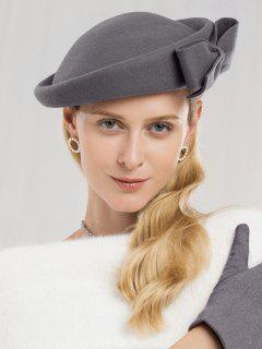 Bowknot Side Woolen Elegant Hat - Gray