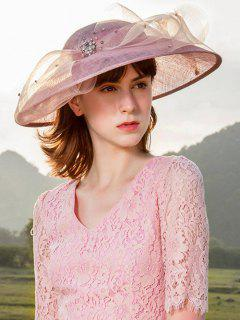 Solid Color Rhinestone Tea Party Hat - Pink