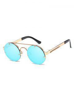 Metal Frame Flat Lens Crossbar Rounded Sunglasses - Light Sky Blue