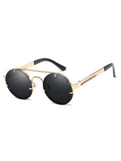 Metal Frame Flat Lens Crossbar Rounded Sunglasses - Champagne Gold