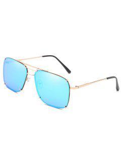 Crossbar Metal Frame Oversized Sunglasses - Day Sky Blue