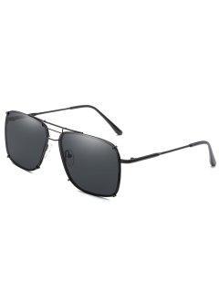 Crossbar Metal Frame Oversized Sunglasses - Black