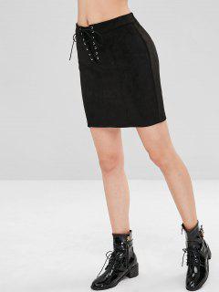 Faux Suede Lace Up Mini Skirt - Black S