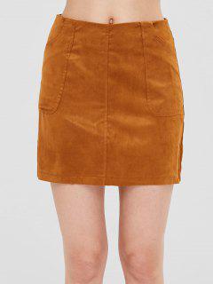 Pockets Faux Suede Mini Skirt - Caramel L