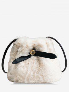 Bucket Faux Fur Crossbody Bag - Warm White