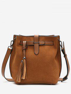 Tassel String Design Bucket Bag - Brown