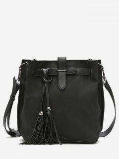 Tassel String Design Bucket Bag - Black