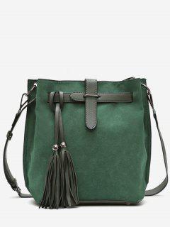 Tassel String Design Bucket Bag - Deep Green