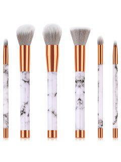 Ensemble De Brosse De Maquillage Pour Blush à Poudre Et Ombre à Paupière En Marbre 6 Pièces - Blanc