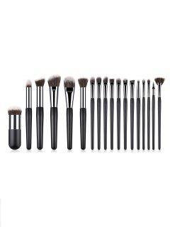 Cosmetic 18Pcs Black Handles Fiber Cosmetic Brush Set - Black