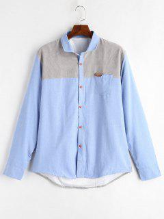 Color Block Patch Fleece Shirt - Sky Blue M