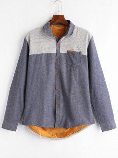 Color Block Patch Fleece Shirt - Blue Gray Xl