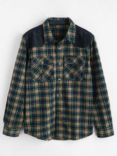 Cord Patchwork Taschen Kariertes Hemd - Meergrün M