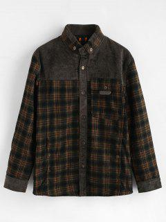 Patchwork Faux Fur Lined Plaid Shirt - Camouflage Green L