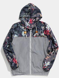 Floral Printed Patchwork Hooded Jacket - Gray Cloud L