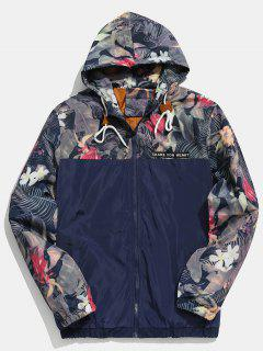 Floral Printed Patchwork Hooded Jacket - Midnight Blue S