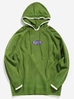 Applique Hooded Knit Sweater - Yellow Green M