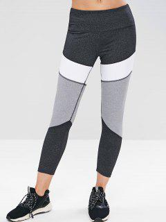ZAFUL Heather Color Block Sports Leggings - Dark Gray L