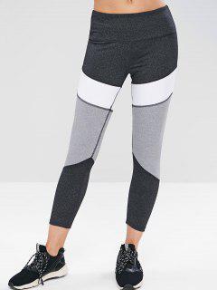 ZAFUL Heather Color Block Sports Leggings - Dark Gray S