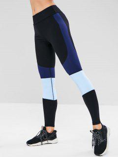 ZAFUL Color Block Skinny Workout Leggings - Black L