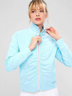ZAFUL Ruched Zipper Pocket Jacket - Light Sky Blue S