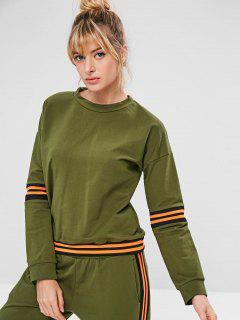 ZAFUL Drop Shoulder Striped Sweatshirt - Army Green L