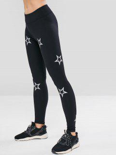 ZAFUL Skinny Star Print Active Leggings - Black M