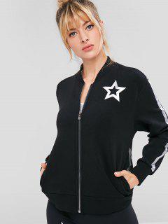 ZAFUL Star Print Zipper Jacket - Black L