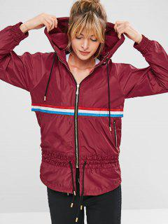 ZAFUL Striped Raglan Sleeve Hooded Coat - Red Wine L