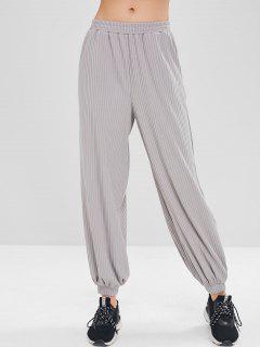 ZAFUL High Waist Ribbed Baggy Pants - Gray Xl
