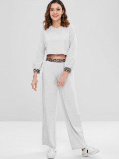 ZAFUL Leopard Trim Crop Top And Pants Set - Light Gray M
